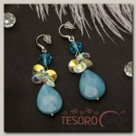 Серьги Капля нежная, цвет бело-голубой в серебре - бижутерия