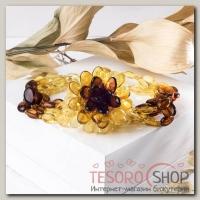 Браслет Янтарь цветок, галька, цветной - бижутерия