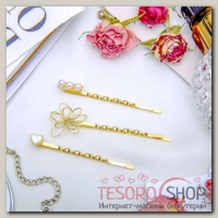 Невидимка для волос Терция (набор 3 шт) 5 см, 5,5 см, сердце, цветок, жемчужины - бижутерия