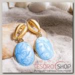 Серьги Ракушка акварель, цвет голубой в золоте - бижутерия