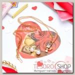 Гарнитур+открытка 2 пр: серьги, кулон Ангел, цвет белый в золоте, 43см - бижутерия