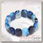 Браслет пластина, прямоугольник закругленный Агат, цвет синий - бижутерия