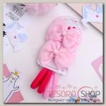 Набор для волос Карапулька (2 зажима,4 резинки) ажурный, розовый - бижутерия