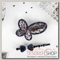 Невидимка для волос Дуэт (набор 2 шт) бабочка и бант 5,5 см, 6,5 см - бижутерия