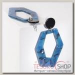 Серьги пластик Узор, цвет чёрно-синий - бижутерия