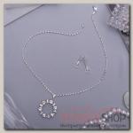 Гарнитур 2 предмета: серьги, кулон Круг искрящийся, цвет белый в серебре, 43 см - бижутерия