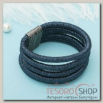 Браслет ассорти Шанталь 5 нитей, цвет темно-синий в сером металле - бижутерия