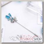 Булавка Цветы букет, 6,3 см, цвет голубой в серебре - бижутерия