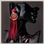 Серьги перья Мираж круг, цвет бордовый - бижутерия
