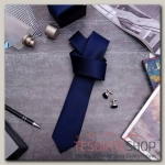 Набор мужской Премьер галстук 145x5см, запонки, тонкая полоска, цвет темно-синий - бижутерия