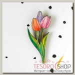 Брошь деревянная Цветы тюльпаны
