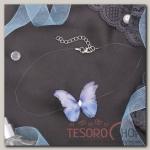 Чокер Butterfly на леске, цвет бело-синий в серебре - бижутерия