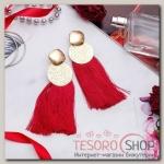 Серьги ассорти Кисти хинди, цвет бордовый в золоте, L кисти 6,5 см - бижутерия