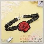 Чокер Роуз цветок распустившийся, цвет красно-чёрный - бижутерия