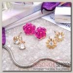 Пусеты 3 пары Цветы розы и ромашки, цвет розово-белый в золоте - бижутерия
