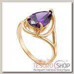 Кольцо Капля, позолота, цвет фиолетовый, 18 размер