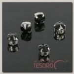 Стразы в цапах (набор 5 шт), 6x6мм, цвет черный в серебре