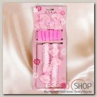 Набор для волос Женечка (2 заколки, 2 повязки, 6 резинок), розовый бантик, розочка - бижутерия