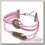 Браслет кожа Believe, 5 нитей, цвет розово-малиновый - бижутерия