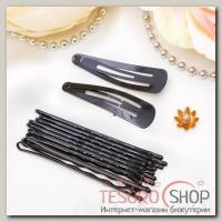Набор для волос Простой (набор 48 шт) чёрный - бижутерия