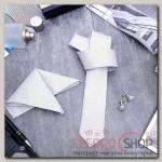 Набор мужской Элит галстук 145x5см, платок, запонки, клетка мелкая, цвет серый - бижутерия