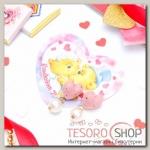 Серьги ассорти+открытка, Сердце принцесса, с бусиной, цвет ярко-розовый - бижутерия
