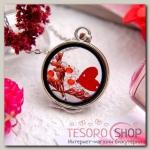 """Кулон из стекла """"Венеция"""" круг, сердце, цвет красный в серебре, 50 см - бижутерия"""