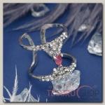Кольцо Дуэт линии, цвет малиново-белый в серебре, размер 17,18,19 МИКС