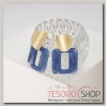 Серьги пластик Комильфо, цвет синий в золоте - бижутерия
