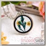 Кулон из стекла Венеция круг, полевые цветы, цвет бело-жёлтый в серебре, 50 см - бижутерия