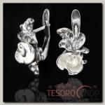 Серьги Розочка, цвет бежевый в черненом серебре - бижутерия