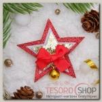 """Брошь """"Новогодняя сказка"""" звездочки рождественские, цвет красно-золотой"""