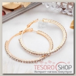 Серьги-кольца Princess дорожка, цвет белый в золоте, d=5 см - бижутерия