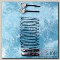 Невидимка для волосАмалия (набор 24 шт, 6 см, 6,5 см) сердечко - бижутерия